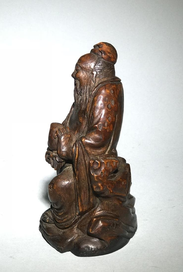 A Qing Bamboo Carved Figure - 4