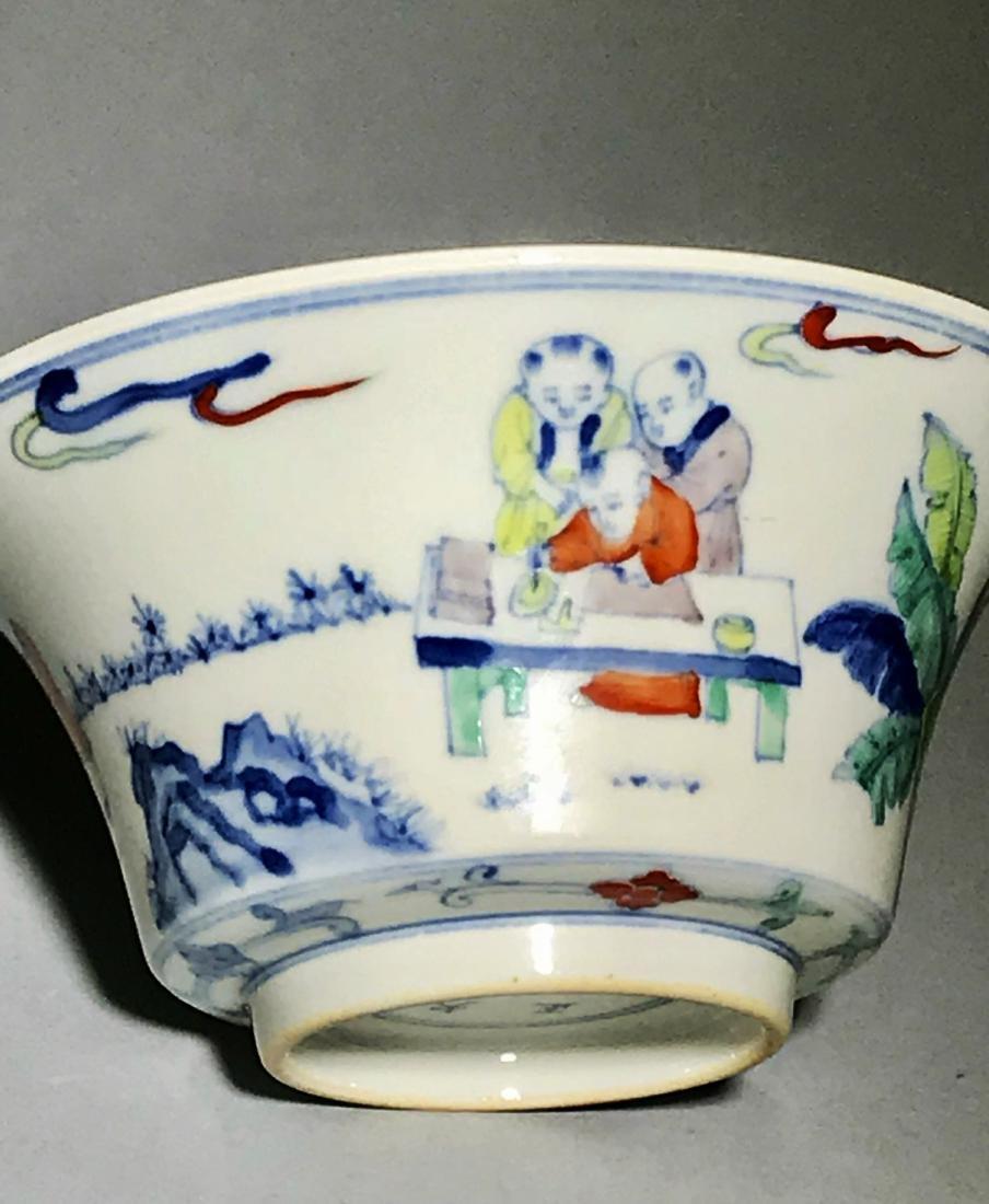 Yongzheng Marked Doucai 'Figure' Bowl - 4