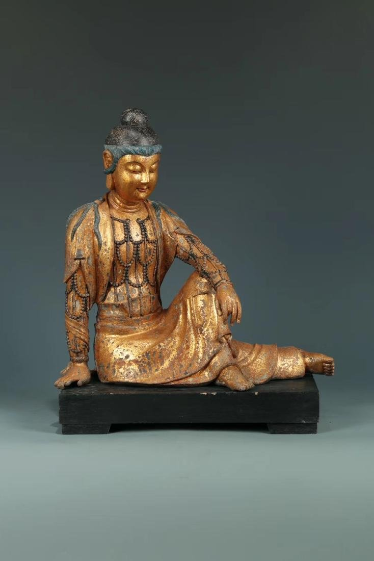 Qing Lacquered Wood Carved Figure of Guanyin