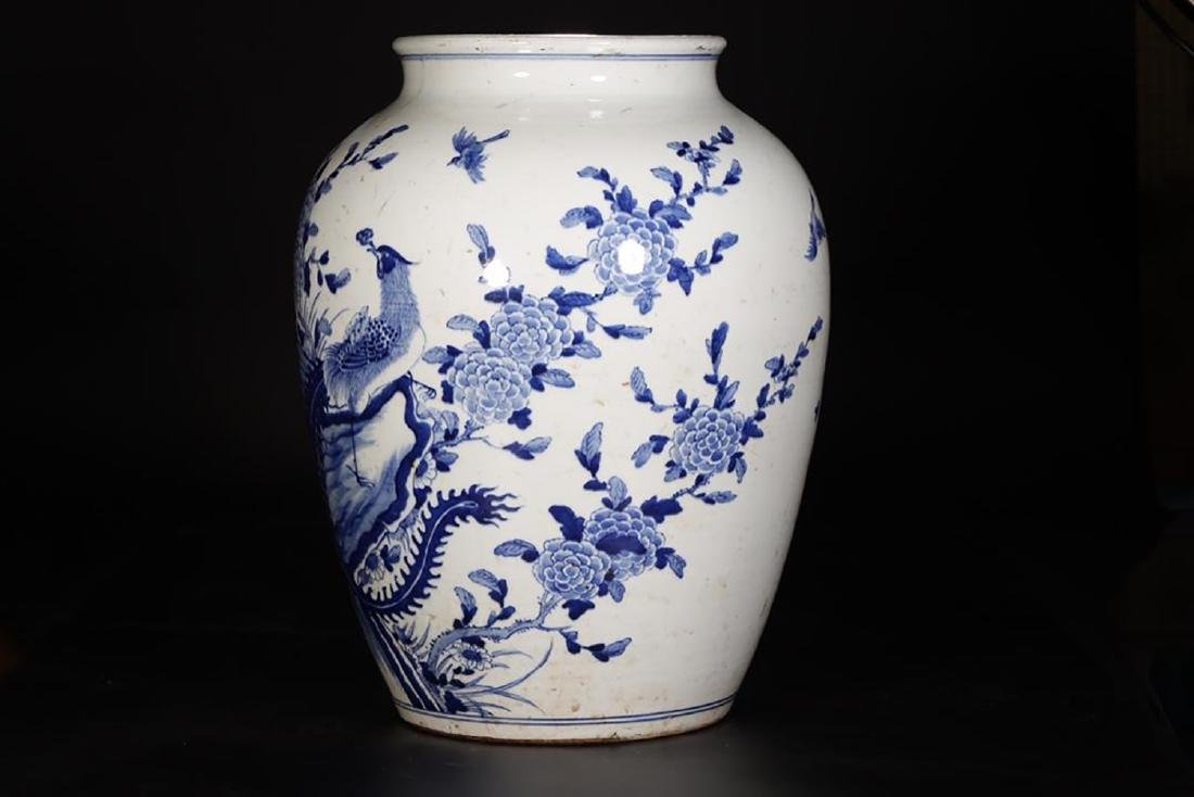 Qing Large Blue And White 'Phoenix' Jar