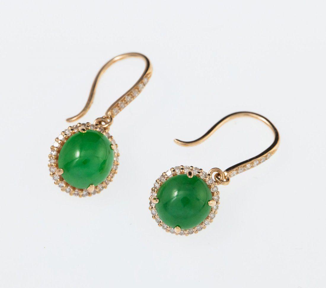 18K Gold Untreated Burma Emerald-green Jadeite Earrings