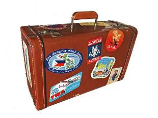 Vintage 1950s Leather Suitcase with Travel Stickers