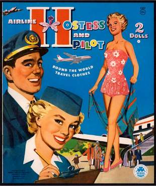 Merrill Airline Hostess and Pilot Punch Out Book