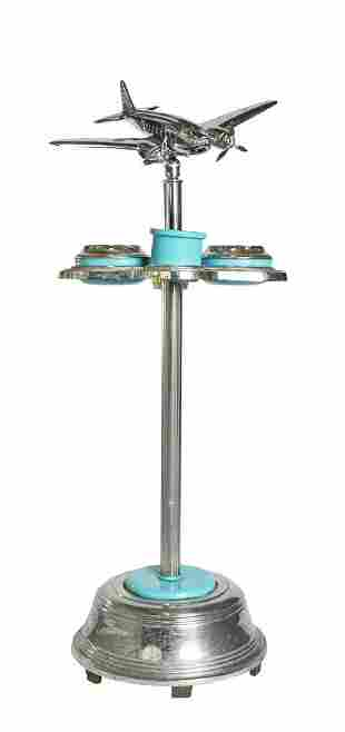 Art Deco Turquoise Airline Executive Smoking Stand