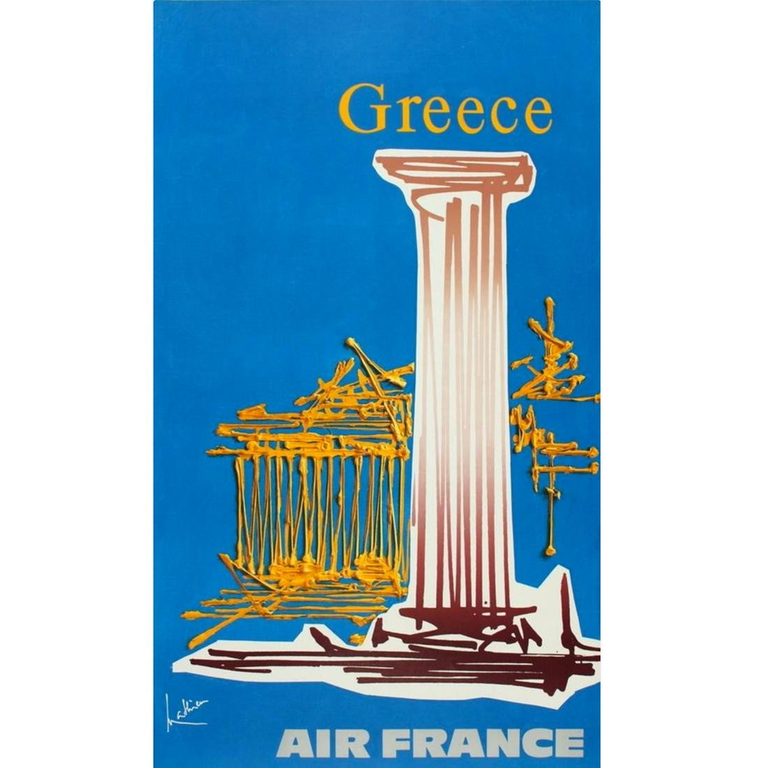 Air France GREECE Travel Poster 1967