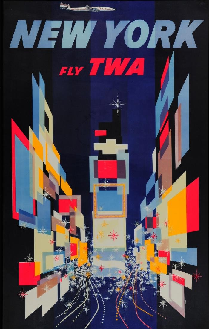 TWA NEW YORK Poster Lithograph by David Klein 1st Ed