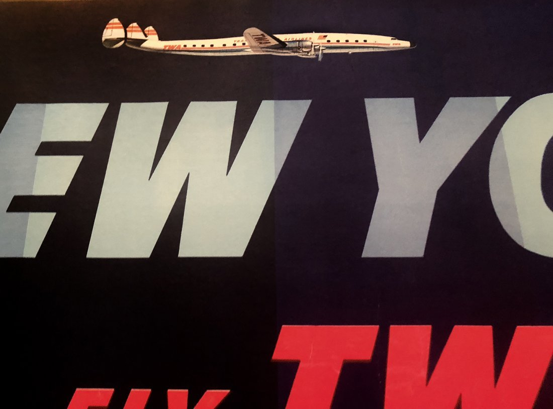 TWA NEW YORK Poster Lithograph by David Klein 1st Ed - 5