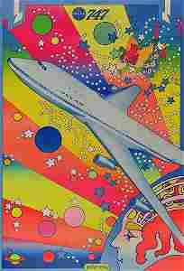 Rare 1969 PETER MAX Boeing 747 PAN AM Psychedelic