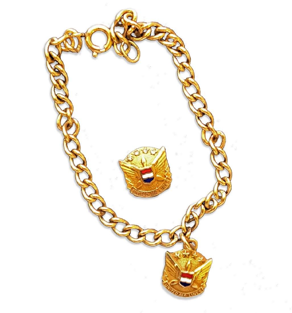 1950s United Airlines Stewardess Gold Bracelet and