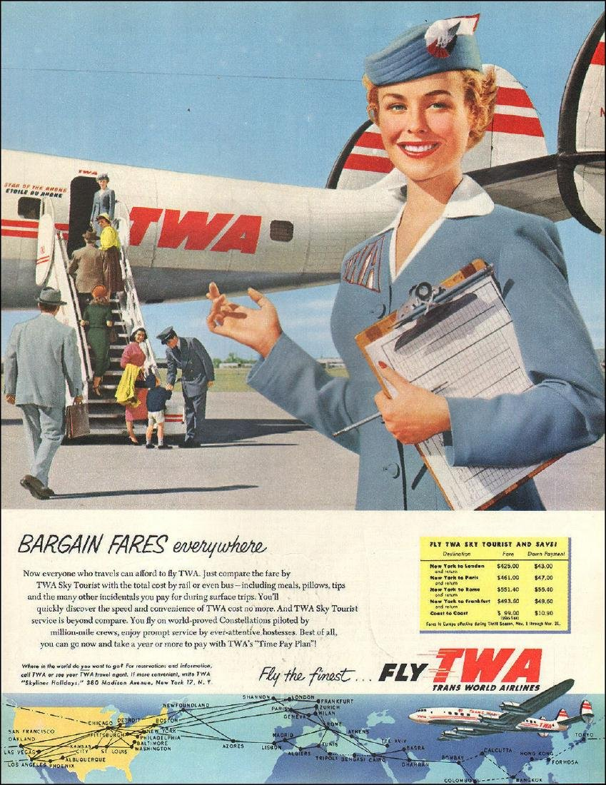 "TWA Iconic 1944-1955 Complete ""Cut Out"" Stewardess - 7"