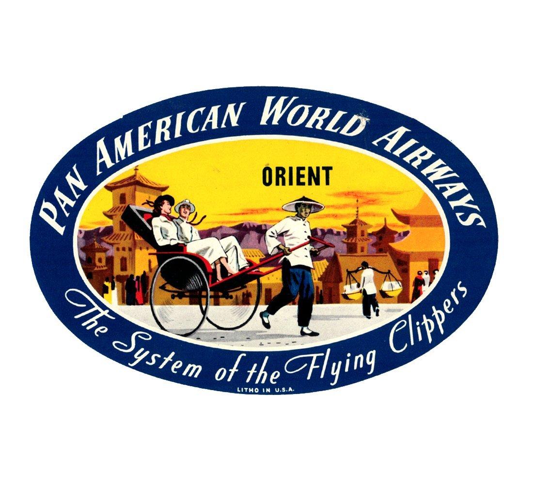 PAN AMERICAN WORLD AIRWAYS Orient Luggage Decal