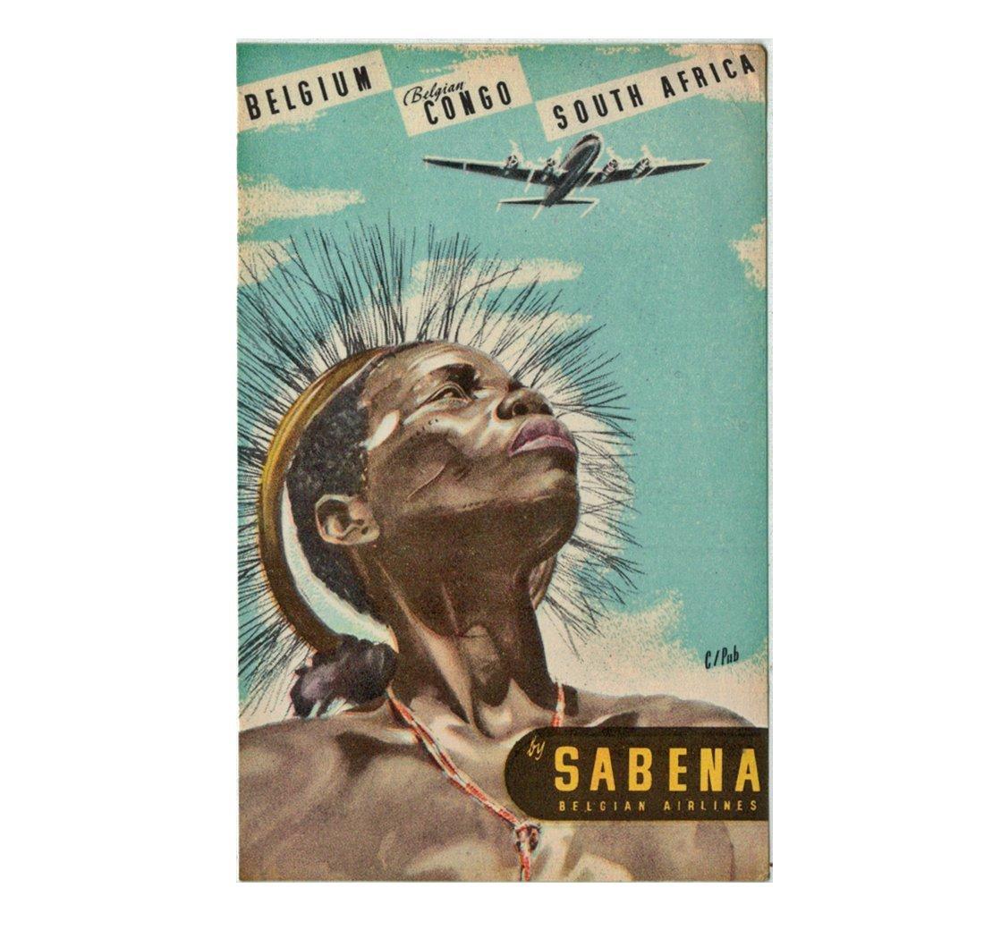 """SABENA Belgian Airlines """"Belgian Congo"""" Luggage Decal"""
