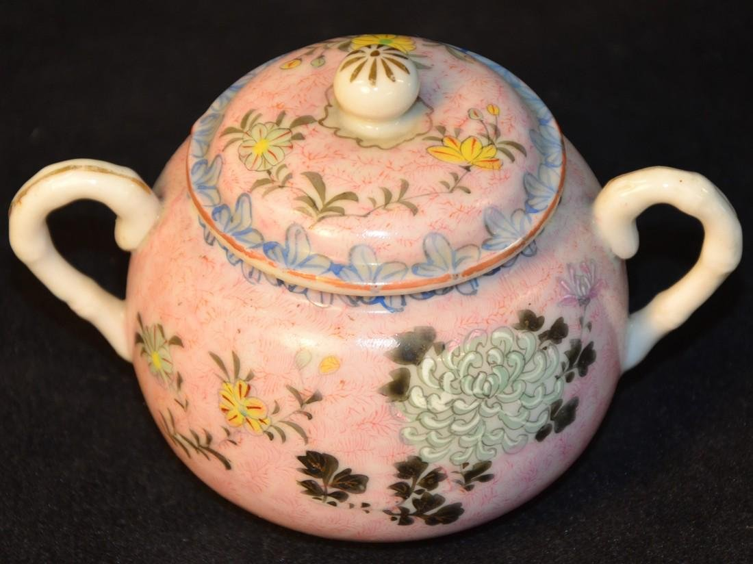 Oriental sugar bowl with lid