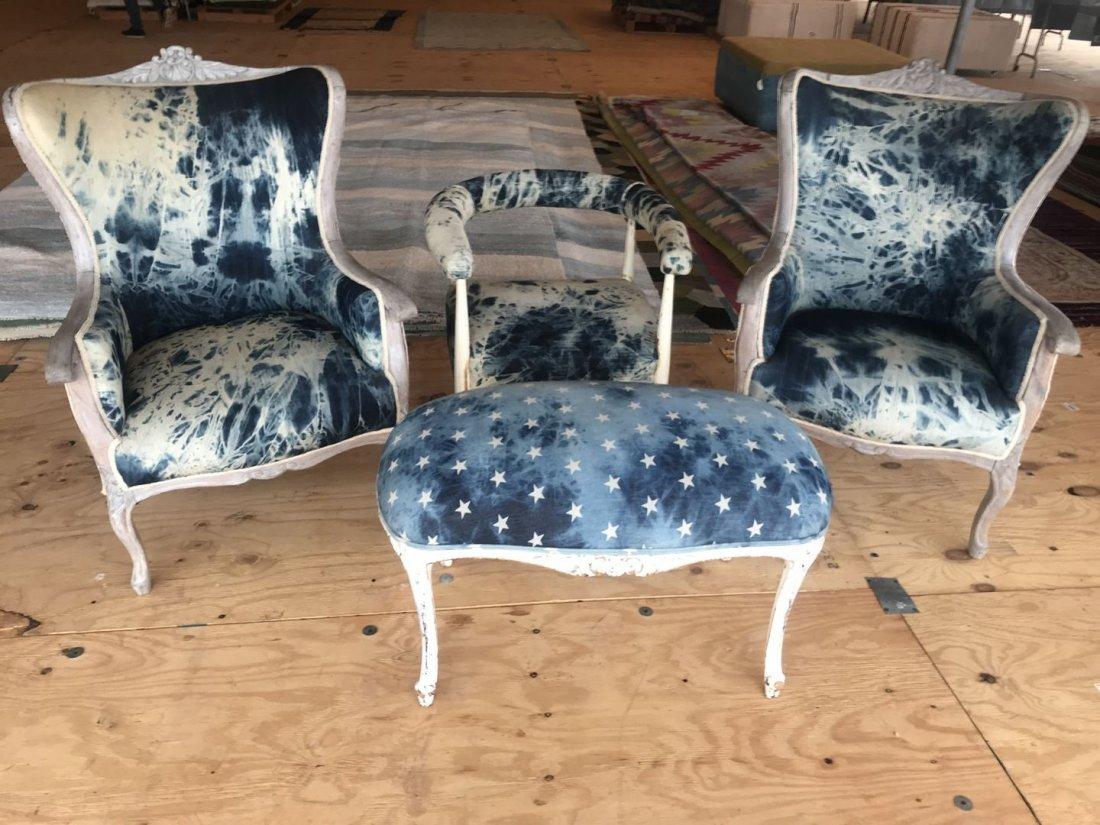 A Set Of Two Arm Chairs and Small Chair and Ottoman