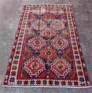 "Vintage Persian Wool Cotton Rug 4'2 X 7'2"""