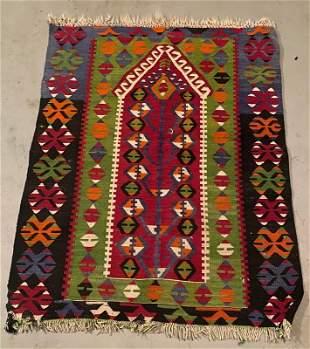 """Turkish Vintage Wool Esme Flatweave Kilim 3' x 3'10"""""""