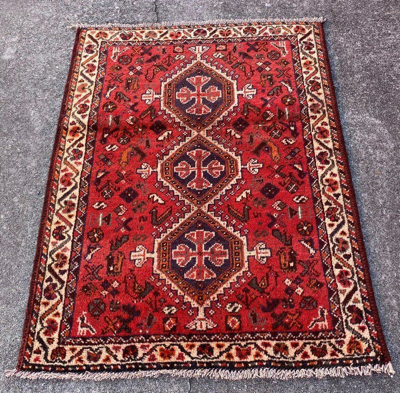 """A Vintage Persian Wool & Cotton Rug 3'6"""" x 4'8"""""""
