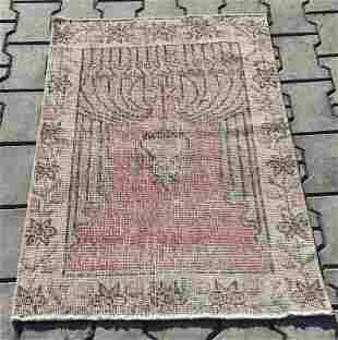 "An Old Turkish Konya Wool Prayer Rug 2'4"" x 3'3"""