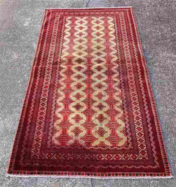 """Afghani Vintage Wool Rug 3'3"""" x 6'"""