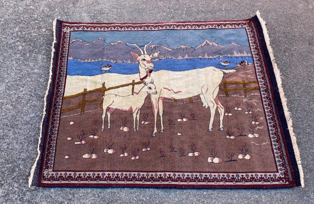 "Pictorial Afghani Squarish Silk Wool Rug 3'5"" x 4'2"""