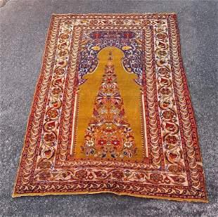 """An Old Turkish Bursa Silk Rug 4'3"""" x 6'2"""""""
