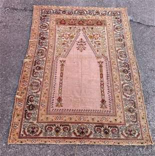 """An Old Turkish Bursa Silk Rug 3'10"""" x 5'5"""""""