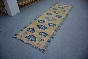 "An Antique Turkish Konya Wool Runner Rug 3'9"" x 11'1"