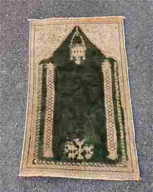 "An Old Turkish Kayseri Silk Yastik Rug 1'9"" x 3'4"""
