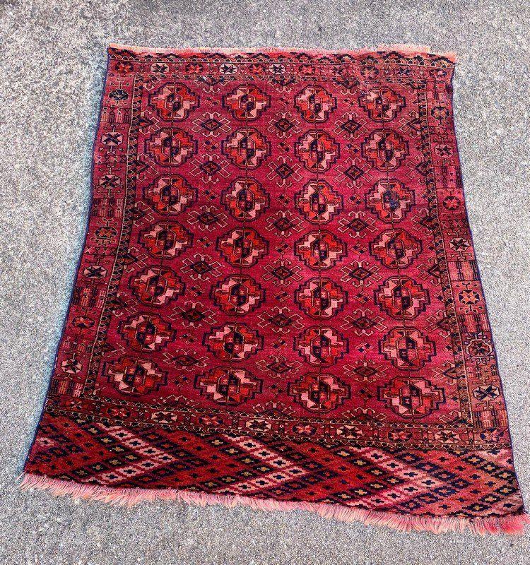 """Afghani Old Bukhara Small Rug 3'2"""" x 4'9"""""""