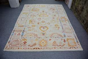 """Turkish Oushak All Over Pattern Wool Rug 9'3"""" x 12'4"""""""