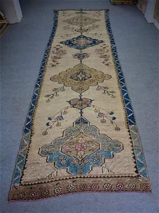 "Old Turkish Anatolian Long Runner Rug, 4'9"" x 18'"