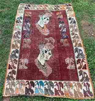 "Pictorial Vintage Persian Rug 3'5"" x 5'3"""