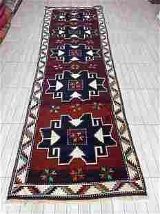 """Turkish Handmade Konya Wool Runner Rug 3'6"""" x 11'6"""""""