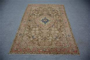 """A Persian Medallion Old Wool Rug 4'3"""" x 6'4"""""""