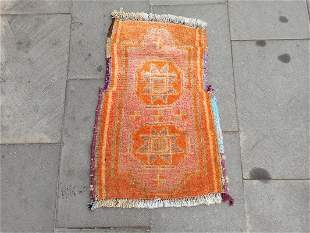 Vintage Turkish Yastik Wool Rug 1'5 x 2'2