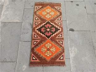 "Vintage Turkish Wool Yastik Rug 1'3"" x 2'8"""