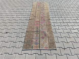 """Pure Wool Vintage Turkish Konya Runner Rug 2'3"""" x 8'2"""""""