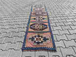 """A Small Turkish Vintage Runner Rug 1'9"""" x 7'"""