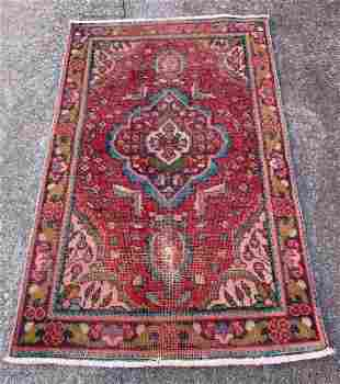"""Vintage Persian Red Background Rug 3'2"""" x 5'"""