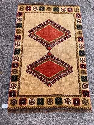 "Small Vintage Persian Wool Rug 2'6"" x 3'10"""