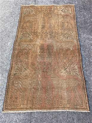 """Vintage Persian Pictorial Wool & Cotton rug 2'9"""" x 4'10"""