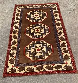 """Vintage Turkish Kars Wool Rug 4'5"""" x 6'9"""""""