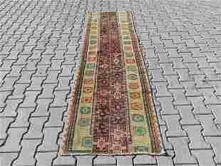"""An Old Turkish Konya Wool Runner Rug 2'5"""" x 8'"""