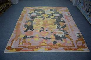 """Turkish Oushak All Over Pattern Wool Rug 8'4"""" x 9'7"""""""