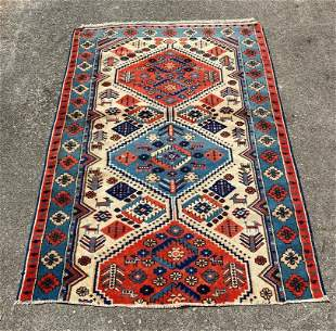 """Vintage Turkish Yoruk Wool rug 3'6"""" x 4'11"""