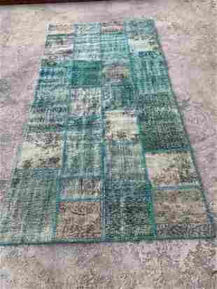 "Turkish Vintage Green Patchwork Rug 4'8"" x 9'8"""