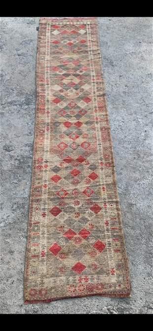 "An Old Kurdish Wool Runner Rug 2'7"" x 11'"