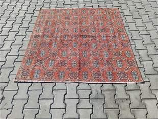 Vintage Turkish Konya Pure Wool Square Rug 4'10 x 4'10