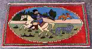 """A Pictorial Persian Wool & Cotton Rug 3'10"""" x 2'"""