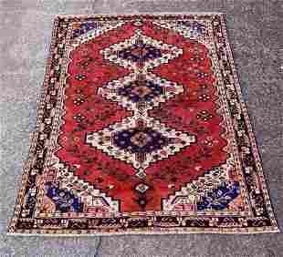 "Vintage Persian Red Rug 4'10"" x 6'4"""